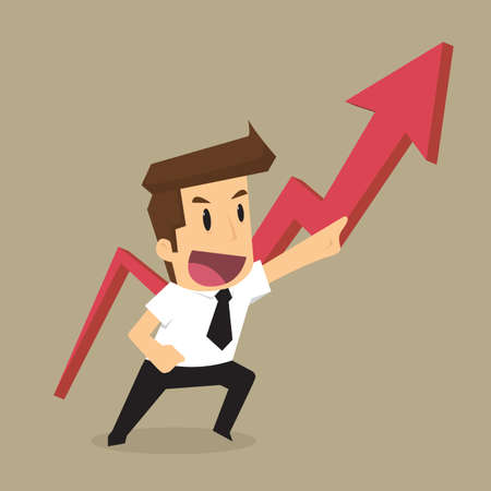 career job: businessman pointing up the arrow, the profit more and more. vector