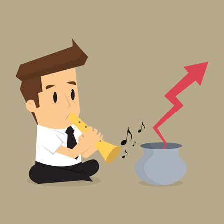 blow up: business man playing flute, arrows out of the pot. vector Illustration