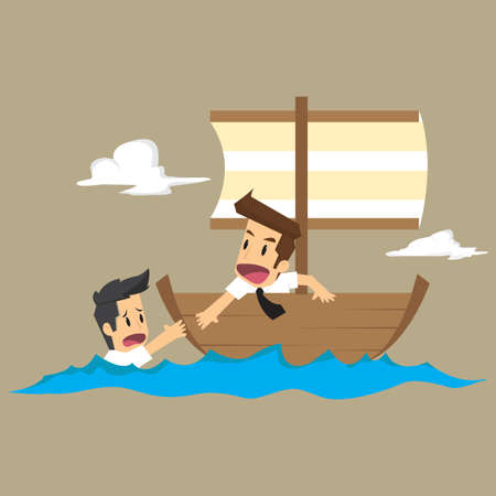 drown: business man helping a friend from drowning, unity in the work. vector Illustration