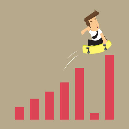 reduced: businessman jump graph, the reduced the economic crisis. vector Illustration