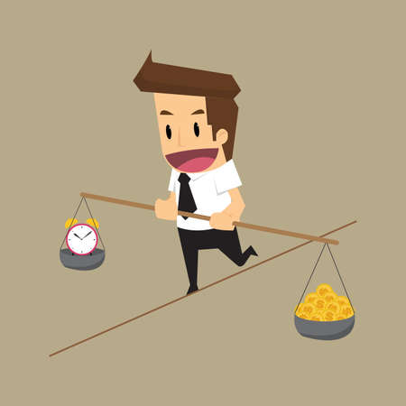zakenman dreigt balanceren tijd en geld. vector Stock Illustratie