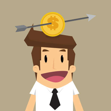 lou: business man with Lou arrow to coin placed on middle head. vector