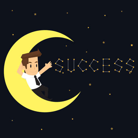 successful businessman: businessman sleeping on the moon. Write successful. vector