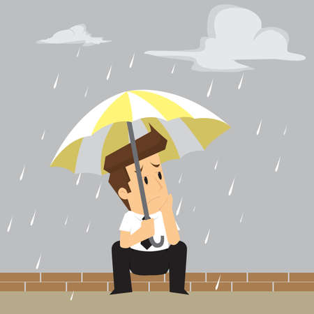 of rain: businessman was caught in the rain. vector