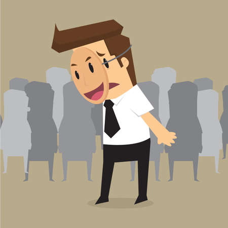 fake mask: Fake businessman wearing mask smile rage cavaliers. Business concept. vector