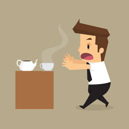 addicted: businessman drink coffee because of drowsiness, Addicted to coffee. vector