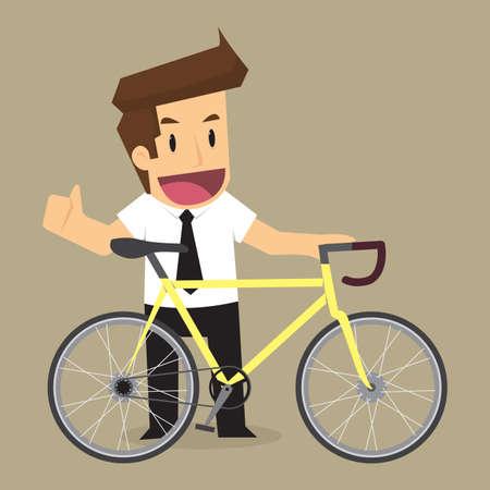 zakenman fietsen voor de gezondheid en energiebesparing. vector Stock Illustratie