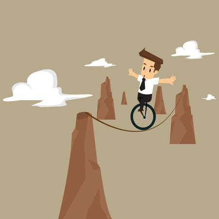 settled: businessman with business risk. vector Illustration