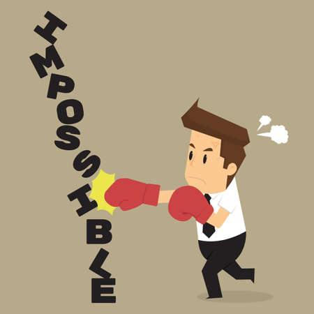 wrathful: businessman destroyed the impossible. vector