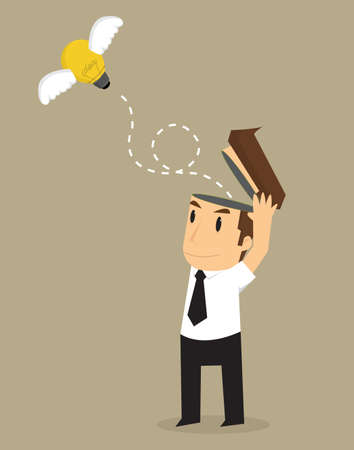 businessman release bulb ideas, freedom of thought. vector