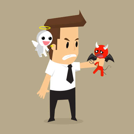 businessman shoulder devil and angel. vector