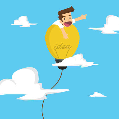 freedom of thought: businessman island on the balloon bulb ideas, freedom of thought. vector