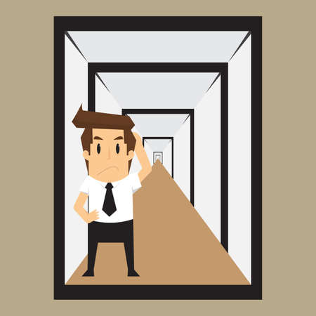 solving: businessman confused with the illusion, with problem solving. vector