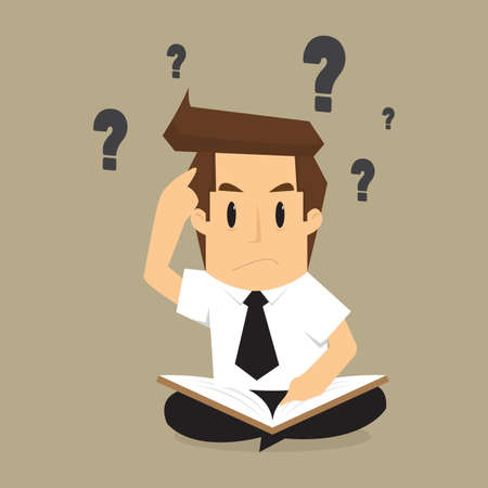 young businessman: businessman solving, find information from books to the problem. vector