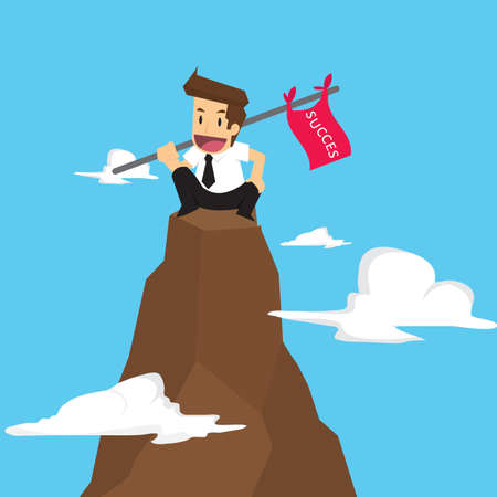 succeed: businessman holding a flag that succeed in mountain. vector Illustration