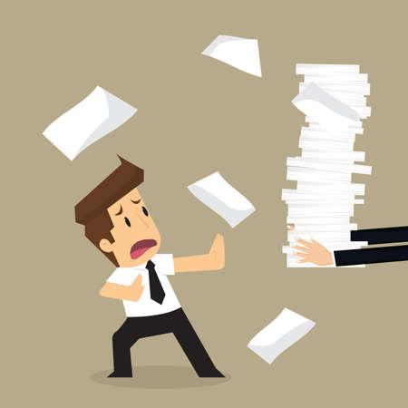 refused: businessman refused to work too hard. vector