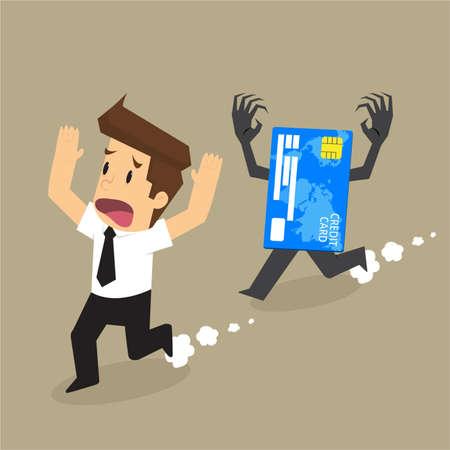tarjeta de credito: tarjeta de crédito la deuda caza de hombre de negocios. vector