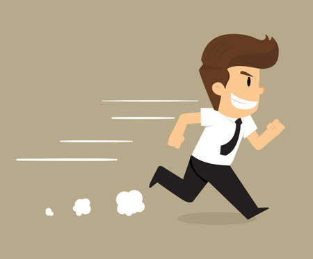confidence: businessman running forward with confidence. vector Illustration
