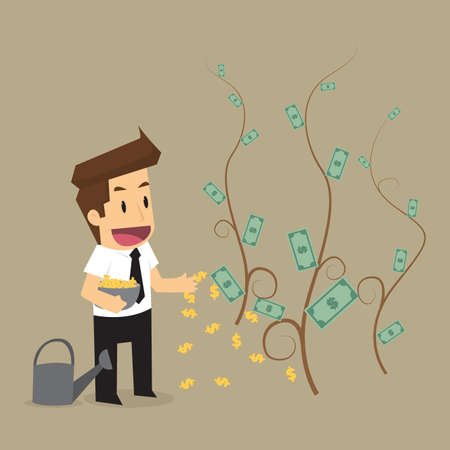 germinate: businessman sow the currency. vector