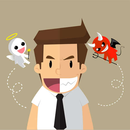 good and evil: business man, two-timing, good - evil. vector Illustration