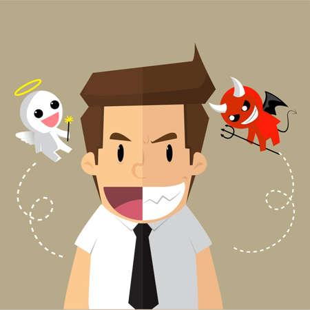 business man, two-timing, good - evil. vector Illustration