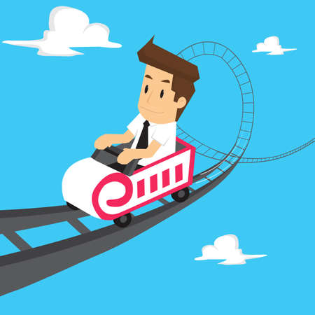 roller coaster: businessman roller coaster. vector