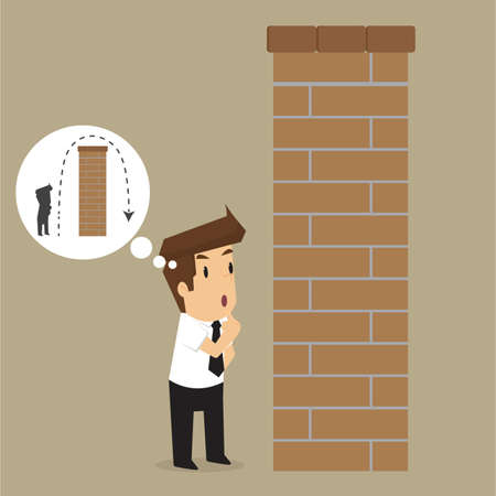 uptight: Business man over the wall plan. vector Illustration