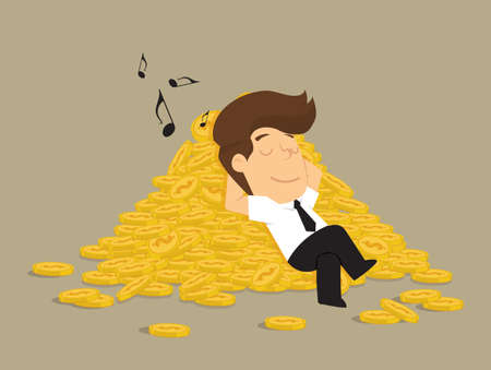 lucrative: businessman sleeping on a pile of coins, profits. vector Illustration