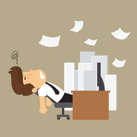 unconscious: businessman unconscious on the desk and a pile of documents. vector Illustration