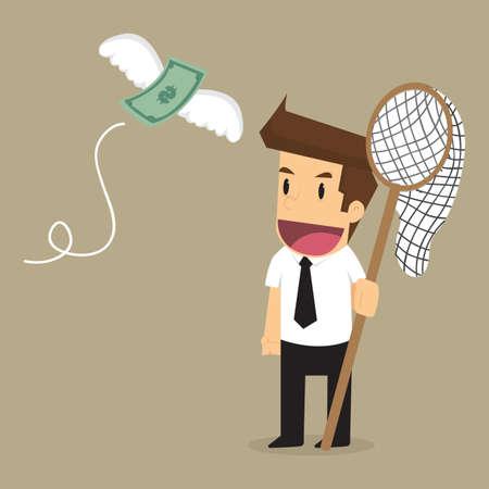 flying money: Businessman catch money flying. vector