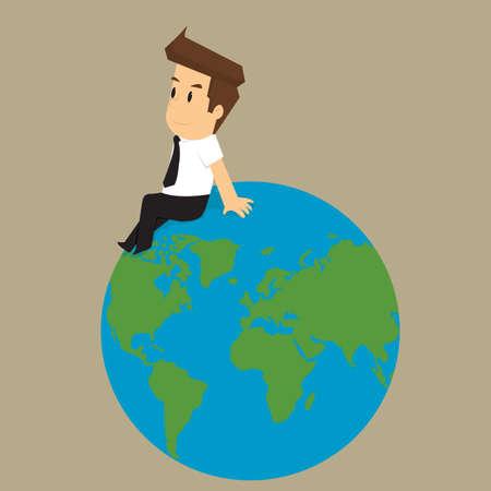 cerebrate: businessman sitting cerebrate on the world. vector Illustration