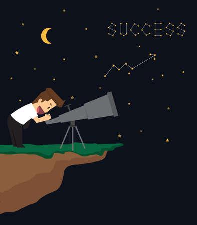 stargaze: Businessman two telescopes. vector Illustration