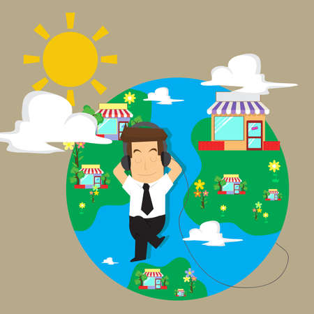 businessman Happy business global , private world. vector Ilustração