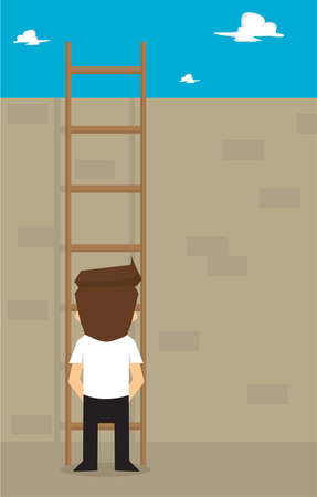 obstacles: businessman think climbing the ladder across obstacles. vector