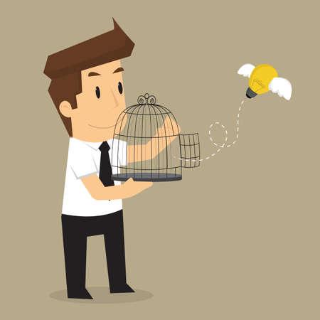 release: businessman release idea bulb. vector Illustration