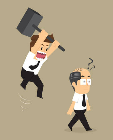 wrathful: businessman jump smash boss. vector Illustration