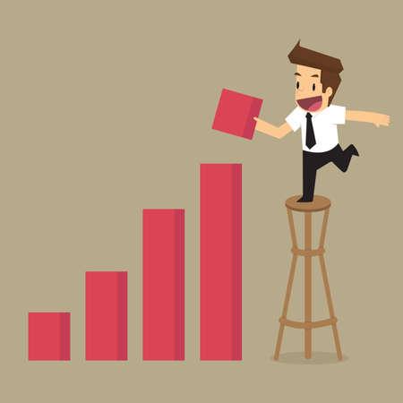 incremento: empresario gráfico de aumentar los ingresos. vector