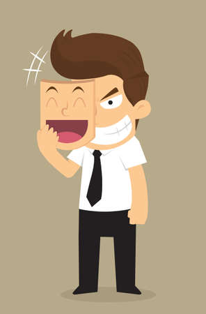 businessman wear the mask smile but face in insidious. vector