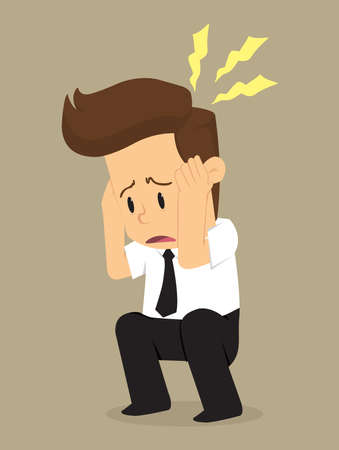 because: businessman have a headache because of the problem. vector Illustration