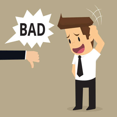 sad businessman: Sad businessman and many hands with thumbs down. vector