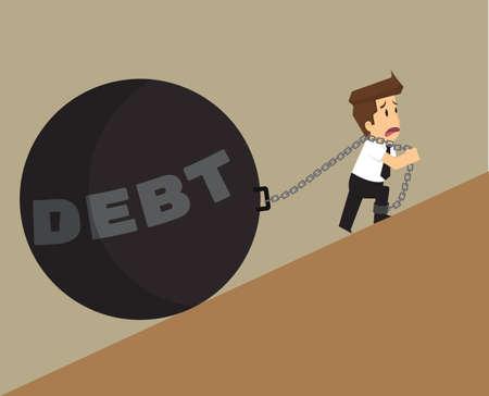 Działalności człowieka z wahadłem, ciężaru zadłużenia. wektor