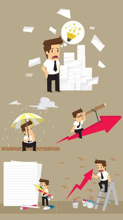 hard rain: Set,Businessman Character. vector