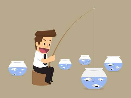 exploited: Businessman hand holding fishing rod, fishing of doing business.vector