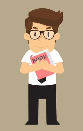 named: business man named love of learning.vector Illustration