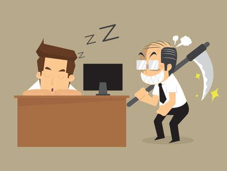 wrathful: businessman recumbent was sleeping boss   messenger of death. Illustration