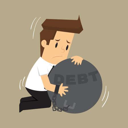 pendulum: businessman hugs pendulum liabilities. vector