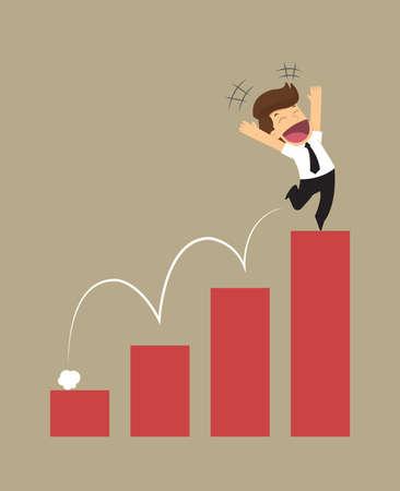 level: businessman financial progress. vector Illustration