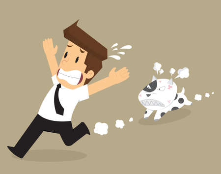 displace: businessman running away from problems, Dogs chase a bite. vector