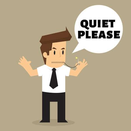 quiet: Businessman dont make a noise, quiet please.vector Illustration