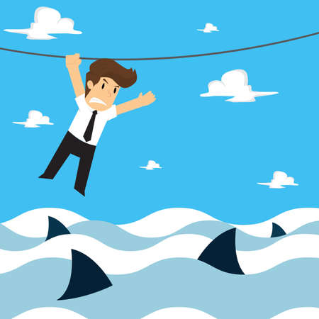 businessman climbing a rope, the risk in the sea. vector Çizim